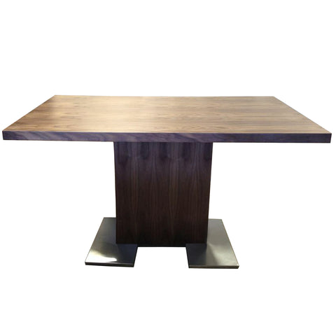 Armen Living LCZEDIWA Zenith Dining Table in Walnut Wood and Brushed Stainless Steel Finish