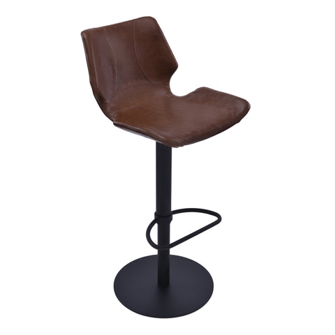 Armen Living LCZUBAVCBL Zuma Adjustable Swivel Metal Barstool in Vintage Coffee Faux Leather and Black Metal Finish