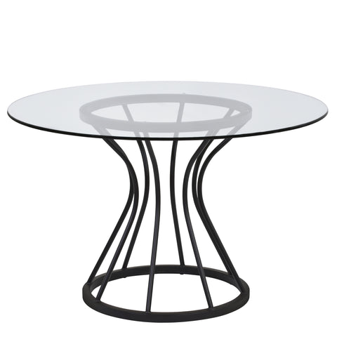 "Armen Living LCZUDITOCLGL Zurich Round Dining Table in Black Finish and 48"" Glass Top"