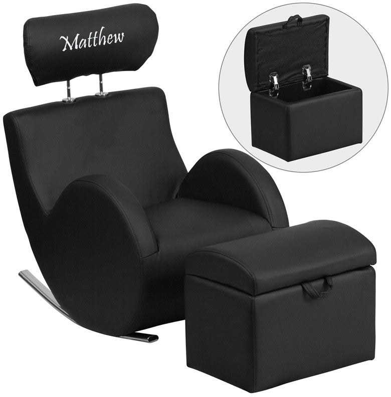 Flash Furniture LD-2025-BK-V-EMB-GG Personalized HERCULES Series Black Vinyl Rocking Chair with Storage Ottoman