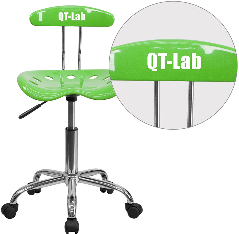 Flash Furniture LF-214-APPLEGREEN-TXTEMB-VYL-GG Personalized Vibrant Apple Green and Chrome Task Chair with Tractor Seat