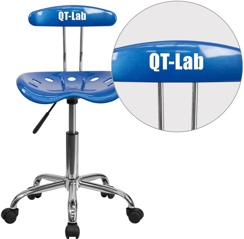 Flash Furniture LF-214-BRIGHTBLUE-TXTEMB-VYL-GG Personalized Vibrant Bright Blue and Chrome Task Chair with Tractor Seat