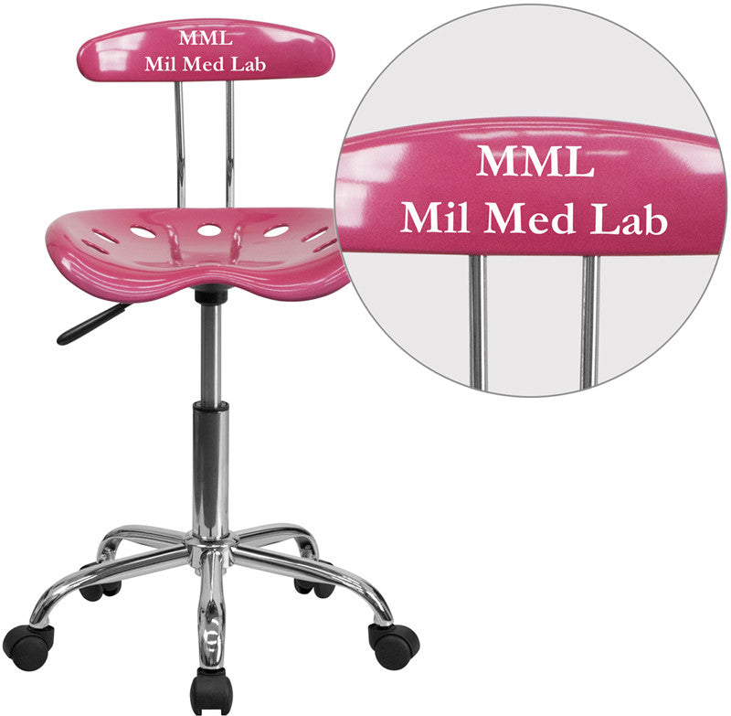 Flash Furniture LF-214-PINK-TXTEMB-VYL-GG Personalized Vibrant Pink and Chrome Task Chair with Tractor Seat