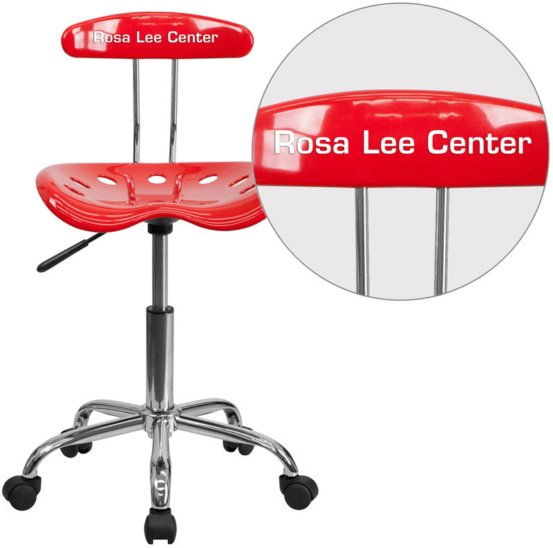 Flash Furniture LF-214-RED-TXTEMB-VYL-GG Personalized Vibrant Red and Chrome Task Chair with Tractor Seat