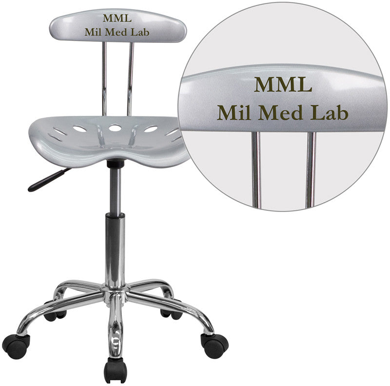 Flash Furniture LF-214-SILVER-TXTEMB-VYL-GG Personalized Vibrant Silver and Chrome Task Chair with Tractor Seat