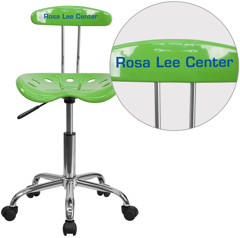 Flash Furniture LF-214-SPICYLIME-TXTEMB-VYL-GG Personalized Vibrant Spicy Lime and Chrome Task Chair with Tractor Seat
