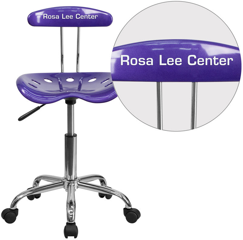 Flash Furniture LF-214-VIOLET-TXTEMB-VYL-GG Personalized Vibrant Violet and Chrome Task Chair with Tractor Seat