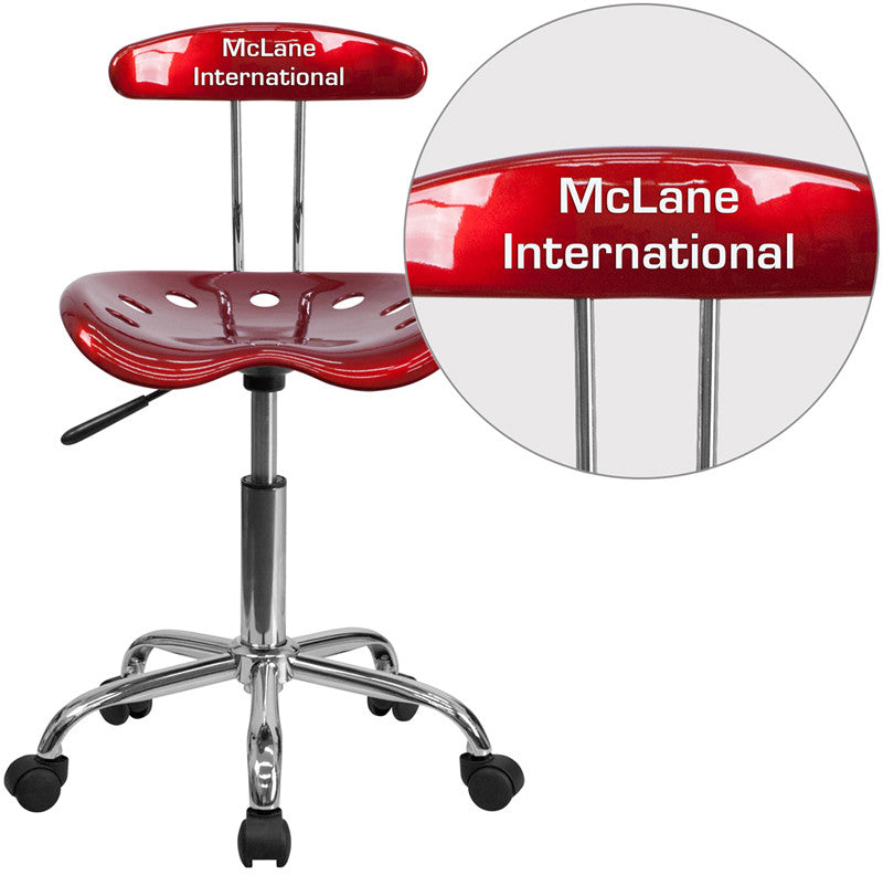 Flash Furniture LF-214-WINERED-TXTEMB-VYL-GG Personalized Vibrant Wine Red and Chrome Task Chair with Tractor Seat