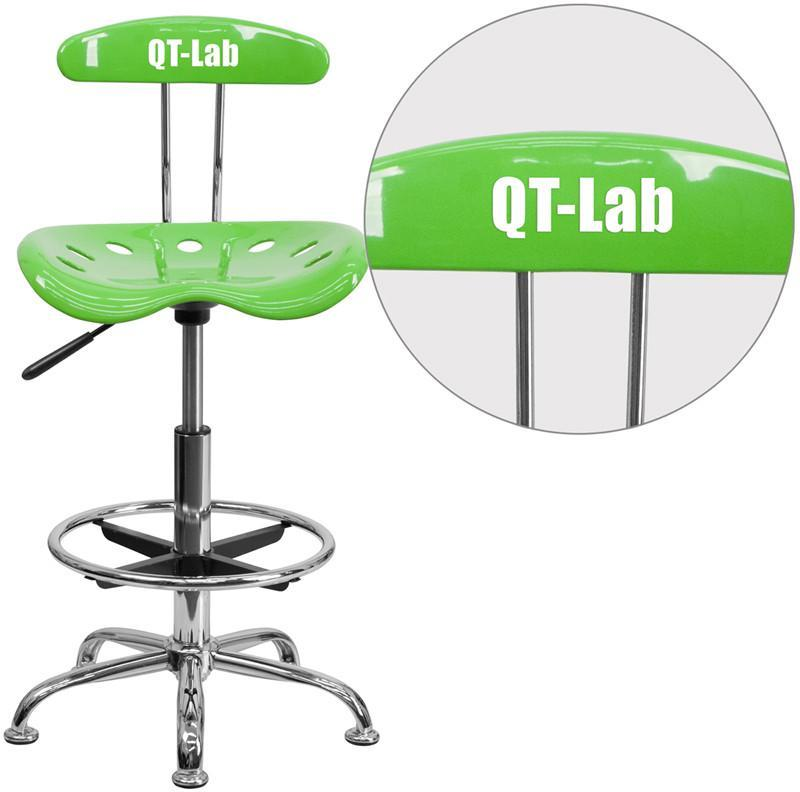 Flash Furniture LF-215-APPLEGREEN-TXTEMB-VYL-GG Personalized Vibrant Apple Green and Chrome Drafting Stool with Tractor Seat