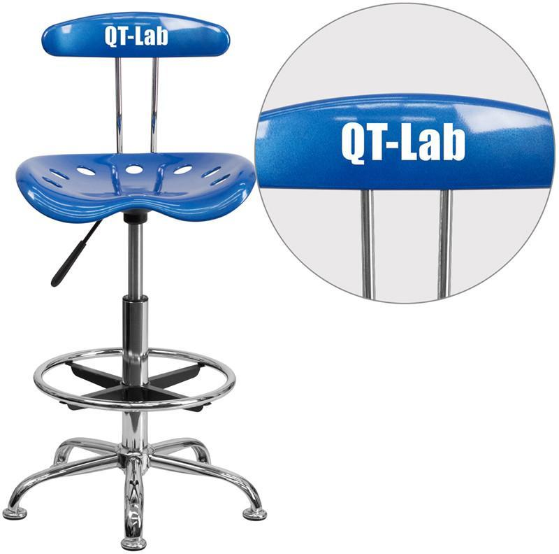 Flash Furniture LF-215-BRIGHTBLUE-TXTEMB-VYL-GG Personalized Vibrant Bright Blue and Chrome Drafting Stool with Tractor Seat