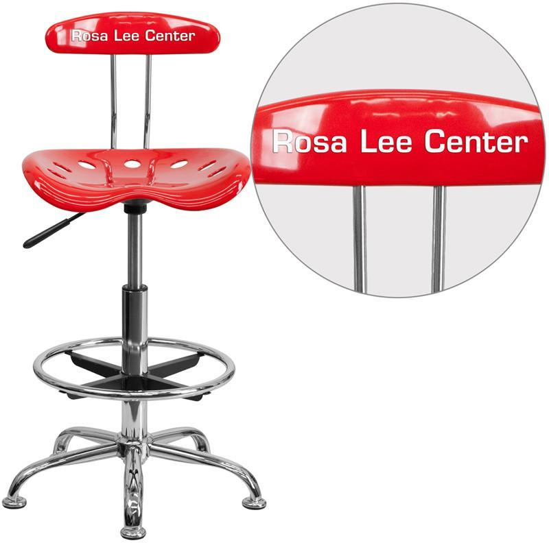 Flash Furniture LF-215-RED-TXTEMB-VYL-GG Personalized Vibrant Red and Chrome Drafting Stool with Tractor Seat