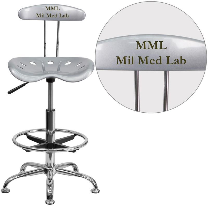 Flash Furniture LF-215-SILVER-TXTEMB-VYL-GG Personalized Vibrant Silver and Chrome Drafting Stool with Tractor Seat