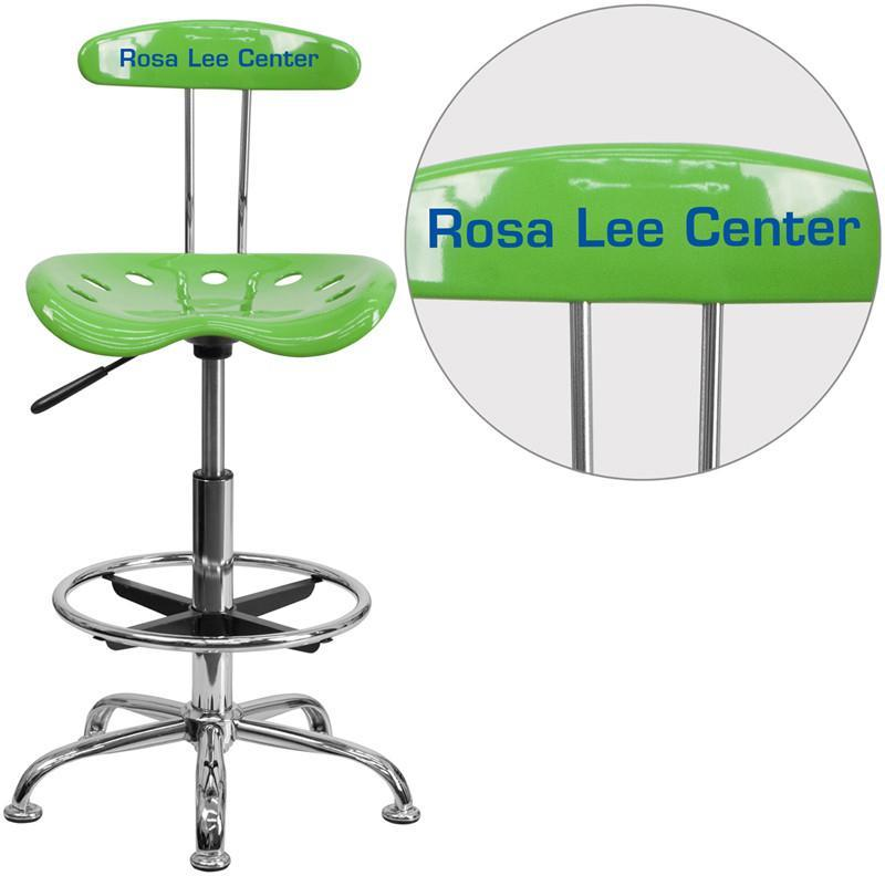Flash Furniture LF-215-SPICYLIME-TXTEMB-VYL-GG Personalized Vibrant Spicy Lime and Chrome Drafting Stool with Tractor Seat