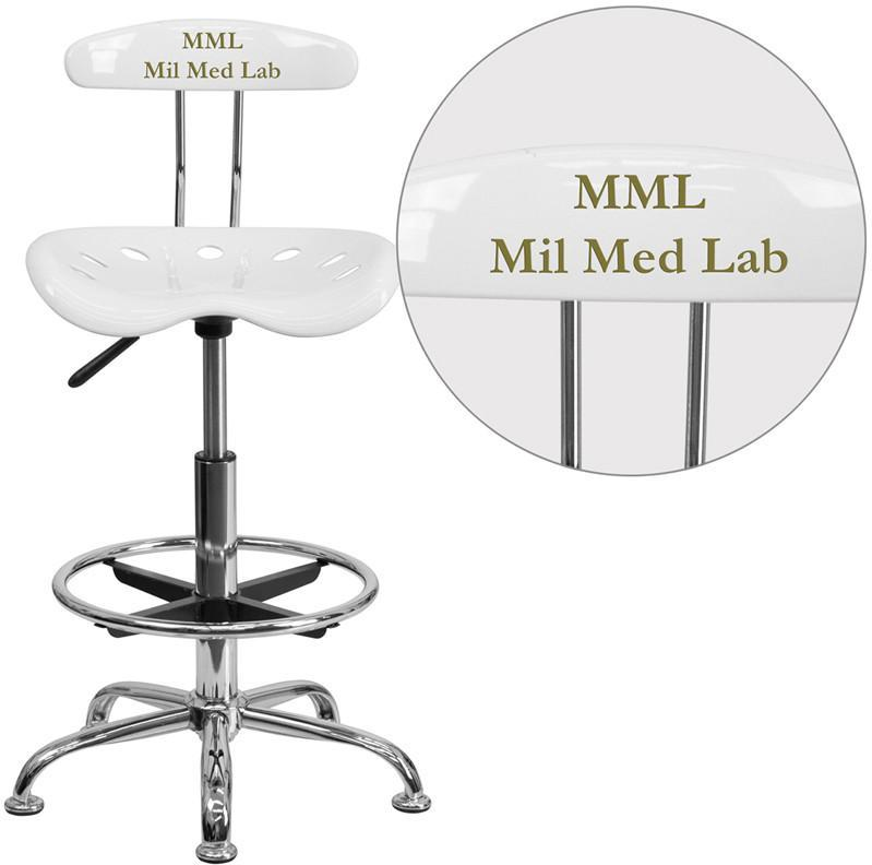 Flash Furniture LF-215-WHITE-TXTEMB-VYL-GG Personalized Vibrant White and Chrome Drafting Stool with Tractor Seat