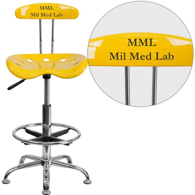 Flash Furniture LF-215-YELLOW-TXTEMB-VYL-GG Personalized Vibrant Orange-Yellow and Chrome Drafting Stool with Tractor Seat