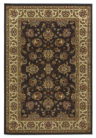 "KAS Rugs Lifestyles 5432 Mocha/Ivory Kashan Machine-Made 100% Heat-set Polypropelene 7'10"" Round"