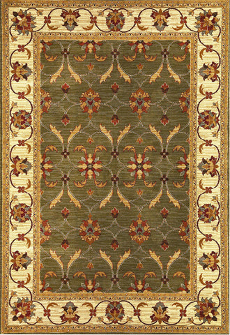 "KAS Rugs Lifestyles 5470 Green/Ivory Agra Machine-Made 100% Heat-set Polypropelene 23"" x 35"""