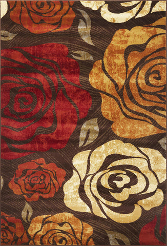 "KAS Rugs Lifestyles 5479 Mocha Rose Machine-Made 100% Heat-set Polypropelene 5'3"" Round"