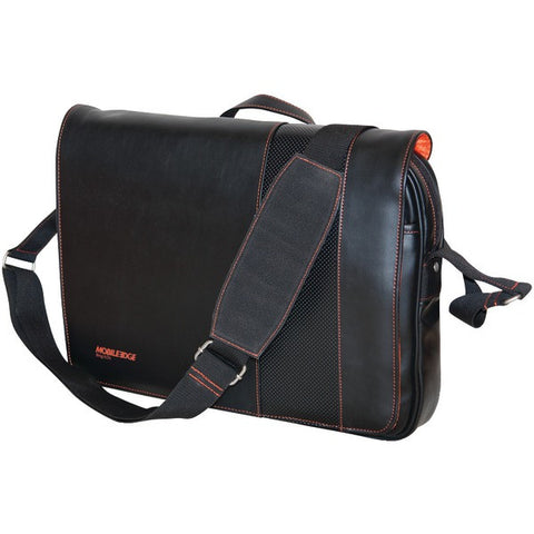"Mobile Edge MEUTSMB6 13"" & 14.1"" Tablet & Notebook Slimline Messenger ( Black with Orange Stitching) - Peazz.com"
