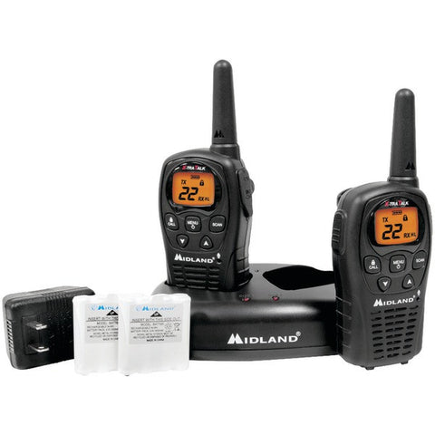 Midland LXT500VP3 24-Mile GMRS Radio Pair Pack with Drop-in Charger & Rechargeable Batteries - Peazz.com