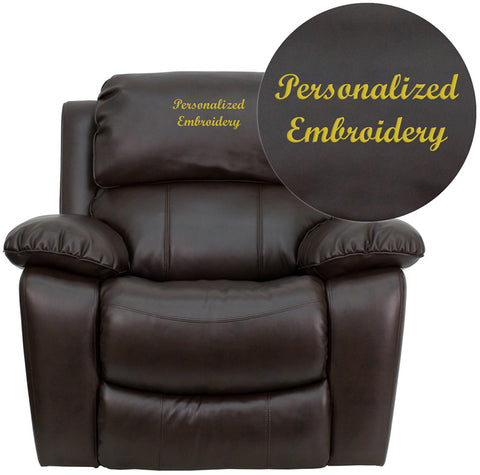 Flash Furniture MEN-DA3439-91-BRN-TXTEMB-GG Personalized Brown Leather Rocker Recliner - Peazz.com