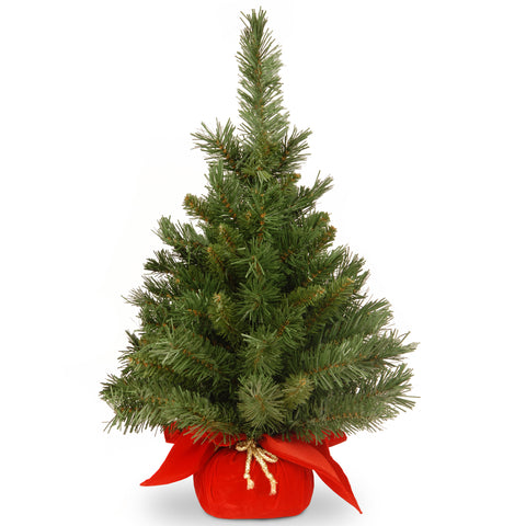 "National Tree MJ3-24RD-1 24"" Majestic Fir Tree in Red Cloth Bag"