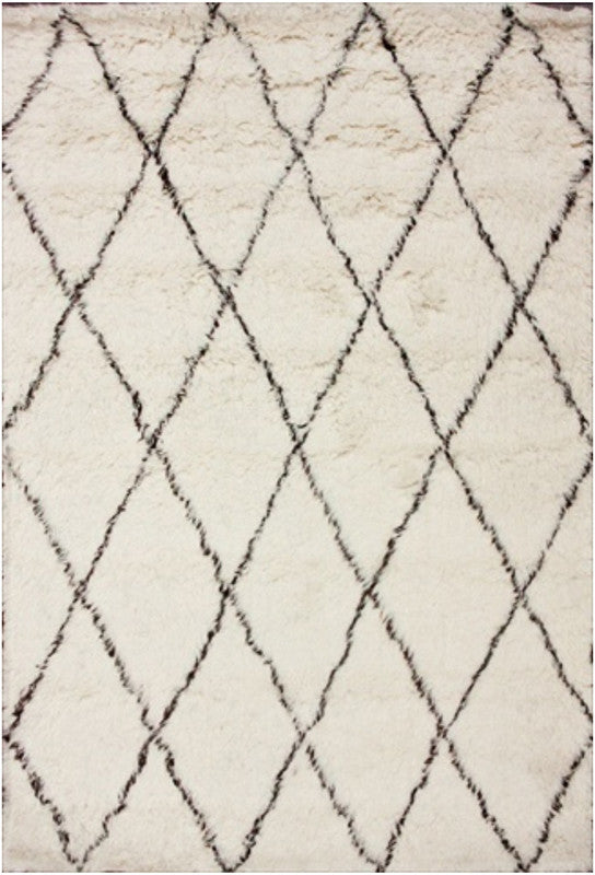Nuloom Collection Ivory Hand Made Marrakech Shag Urbanized