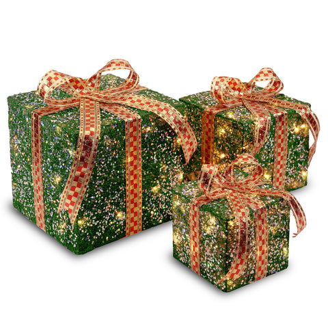 "National Tree MZGB-ASST-3L-1 6"", 8"" & 10"" Assorted Green Sisal Gift Boxes with 20, 20 and 35 Clear Lights"