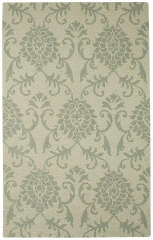 "KAS Rugs Marbella 3500 Ivory/Grey Damask Hand-Hooked 100% Wool 27"" X 45"""