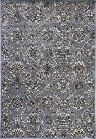 KAS Rugs Montecarlo IV 5193 Silver Allover Tabriz Machine-Made 100% Viscose (Faux Silk) 2' x 3'7""
