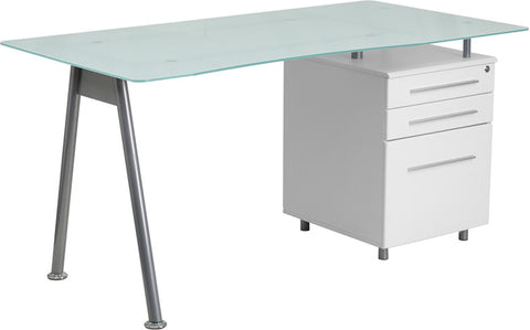 Flash Furniture NAN-WK-021-GG White Computer Desk with Glass Top and Three Drawer Pedestal - Peazz.com - 1