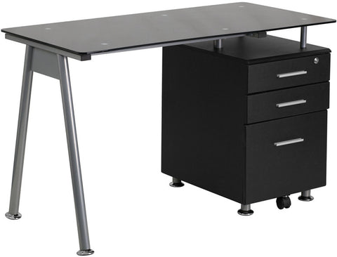 Flash Furniture NAN-WK-021A-GG Black Glass Computer Desk with Three Drawer Pedestal - Peazz.com - 1