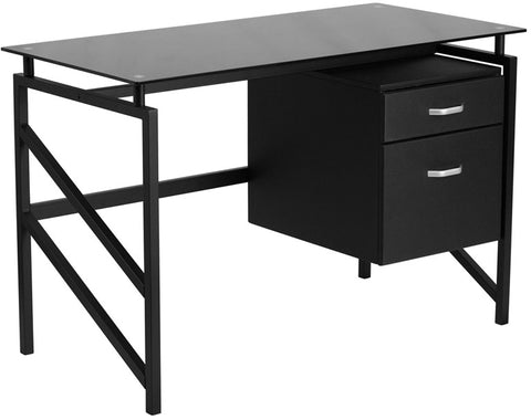 Flash Furniture NAN-WK-036-GG Glass Desk with Two Drawer Pedestal - Peazz.com - 1