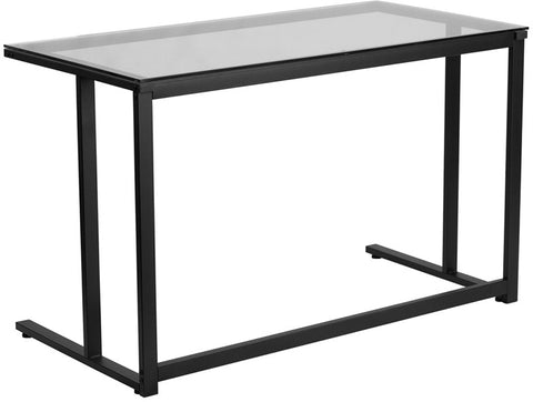 Flash Furniture NAN-WK-055-GG Glass Desk with Black Pedestal Frame - Peazz.com - 1
