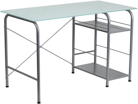 Flash Furniture NAN-WK-086-GG Glass Computer Desk with Open Storage - Peazz.com - 1