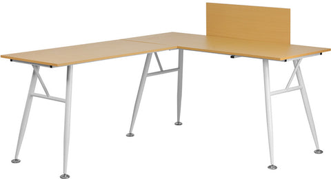 Flash Furniture NAN-WK-110-GG Beech Laminate L-Shape Computer Desk with White Frame Finish - Peazz.com - 1