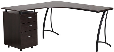 Flash Furniture NAN-WK-113-WAL-GG Walnut Laminate L-Shape Desk with Three Drawer Pedestal - Peazz.com - 1