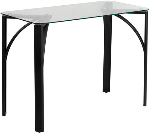 Flash Furniture NAN-YLCD1214-GG Contemporary Desk with Clear Tempered Glass Top - Peazz.com