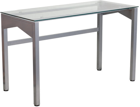 Flash Furniture NAN-YLCD1219-GG Contemporary Desk with Clear Tempered Glass Top - Peazz.com - 1