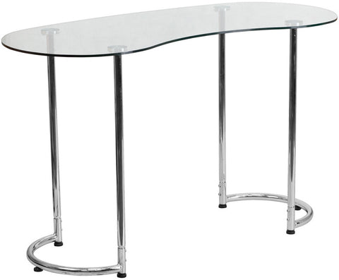 Flash Furniture NAN-YLCD1235-GG Contemporary Desk with Clear Tempered Glass - Peazz.com - 1