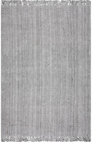 Nuloom NCCL01G-305 Natura Collection Grey Finish Machine Woven Chunky Loop Jute - Peazz.com