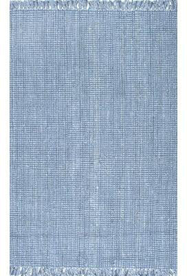 Nuloom NCCL01H-76096 Natura Collection Blue Finish Machine Woven Chunky Loop Jute - Peazz.com