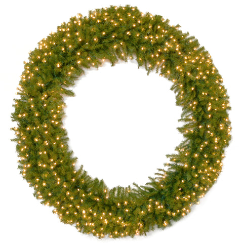 "National Tree NF-72WLO 72"" Norwood Fir Wreath with 450 Clear Lights"