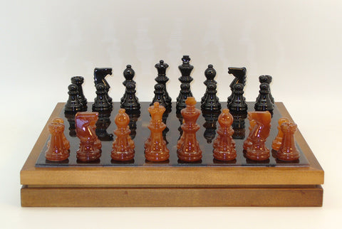 "Alabaster Chess & Checkers in Wood Chest, Natural wood frame and base, Black/Brown, 3"" King"