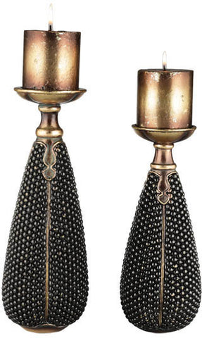 Ok Lighting OK-4223C Beaded Stone Candleholder Set - Peazz.com