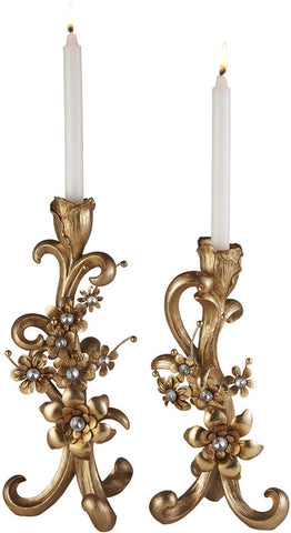 "Ok Lighting OK-4279-C2 Athena Bronze Candleholder Set Of 2 (12"" & 14""H) - Peazz.com"