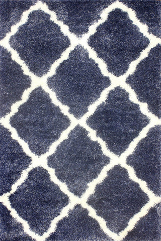 Nuloom OZSG14C-92012 Plush Shag Collection Denim Finish Moroccan Trellis Shag - Peazz.com