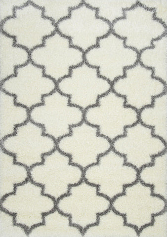 Nuloom OZSG16A-8010 Plush Shag Collection Ivory Finish Luna Trellis Shag - Peazz.com