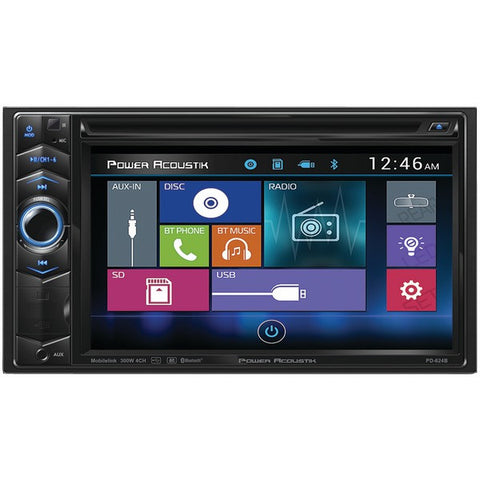 "Power Acoustik PD-624B 6.2"" Double-DIN In-Dash LCD Touchscreen DVD Receiver with Bluetooth - Peazz.com"