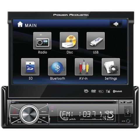 "Power Acoustik PTID-8920B 7"" Single-DIN In-Dash Motorized Touchscreen LCD DVD Receiver with Detachable Face (With Bluetooth) - Peazz.com"